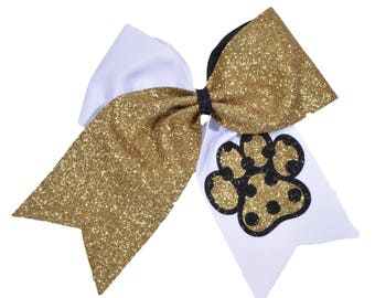 Glitter Paw Polka Dot Print Cheer Bow-All Team Colors Available-Fast Shipping-Top Quality Materials-Custom Cheer Bow