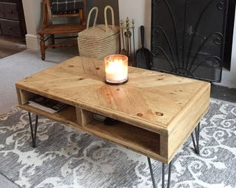Reclaimed Pallet Wood Coffee Table With Hairpin Legs Recycled Industrial Rustic Chic