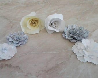 54 mixed paper flowers of various shapes and colors