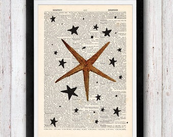 Starfish At Print / Print on Dictionary Pages Vintage Book Print