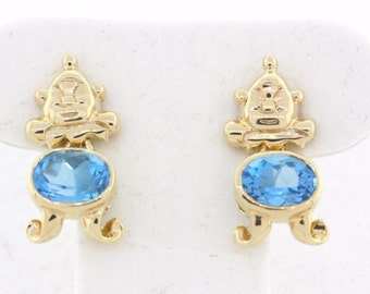 14K Yellow Gold Ladies Clown Face & Blue Topaz Dangle Earrings