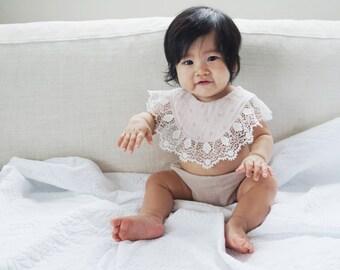 BABY ORGANIC BIB / baby lace bib / baby reversible bib / baby dribble bib