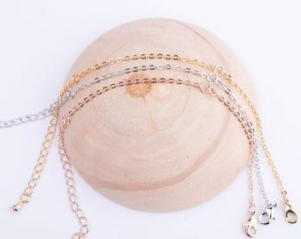 3pcs 7.5 inch 14k gold/rose gold/rhodium bracelet chain,adjustable bracelet chain,attach bracelet chain,connection bracelet chain