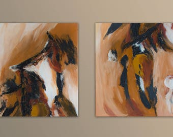 Acrylic painting abstract, original, modern and contemporary art, Brown, earth tones, 2 images of 40 x 40 cm