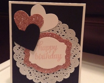 Stampin up glittery heart female birthday card