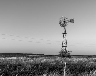 Texas Windmill Black And White Fine Art Print /Fairy Texas/ Hamilton County / western art/