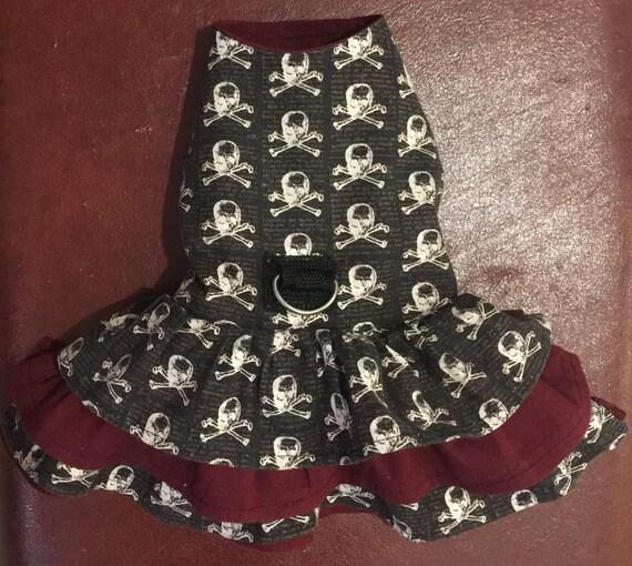 Reversible fully lined skull & crossbones CUSTOM SIZED cotton Pet Dog Harness safety Dress