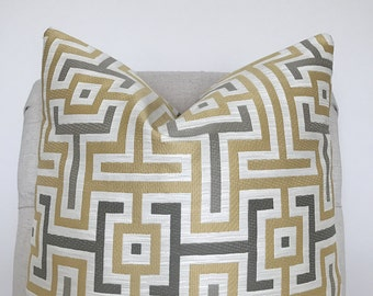 Yellow and Grey Patterned Pillow Cover