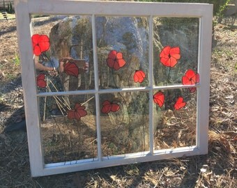 Old Window with Painted Poppies