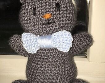 Grey crochet teddy bear
