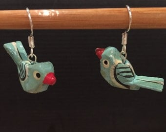 Cute retro blue bird earrings