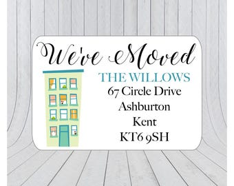 36 x We've moved return address labels, moving announcement stickers, we've moved envelope seal, moving house announcement 070