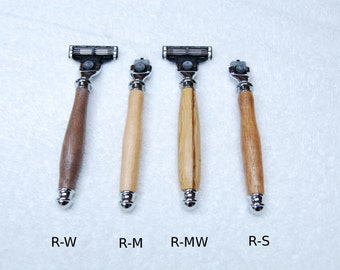 Hand-Turned Wooden Razor Handles - Compatible with Gillette Mach 3 Razor Blades
