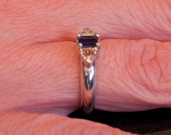 Iolite and Beryl silver ring