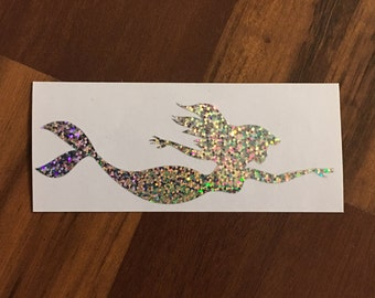 Holographic Swimming Mermaid Sticker Decal for Car window, laptop, etc.