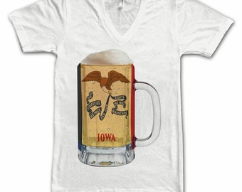 Ladies Iowa State Flag Beer Mug Tee, Home State Tee, State Pride, State Flag, Beer Tee, Beer T-Shirt, Beer Thinkers, Beer Lovers Tee