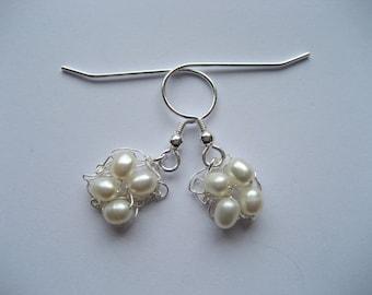 Fine Silver Freshwater Pearl Square Earrings