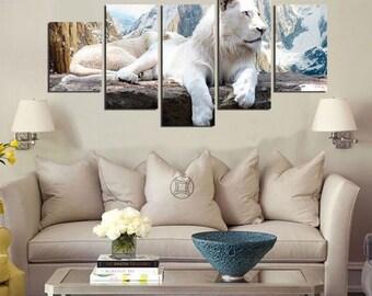 White Tiger - split framed canvas print