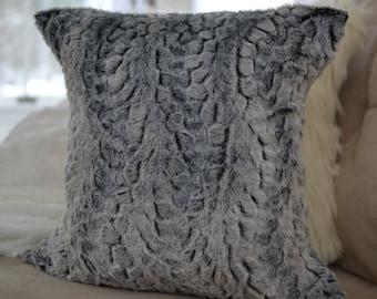 Faux Rabbit Fur Pillow Cover