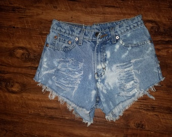 Splatered Bleach Distressed Cutoff Jordache Booty Shorts