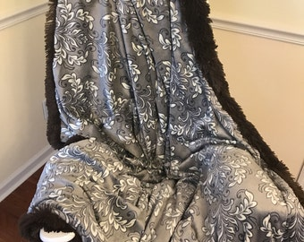 Bella Brown Adult Minky Blanket with Comfy Foot Pocket - The Ultimate Couch Cuddle Blanket