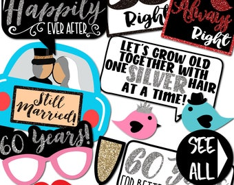 60th Anniversary Photo Booth Props - 33 Printable Party Props, Wedding, Happily Ever After, For Better or For Worse - INSTANT PDF DOWNLOAD