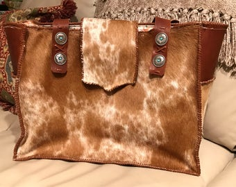 RESERVED Handmade Hair-On Cowhide Tote Bag, Diaper Bag, Large Purse with Oilcloth Interior