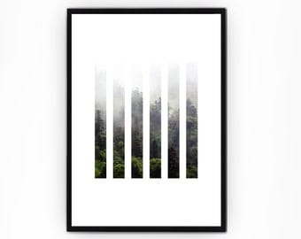 Forest Wall Art, Nature Print, Modern Wall Art, Green Print, Nature Wall Art, Foggy Forest, Minimal Art, Geometric Prints