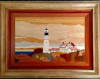 Custom Wood Veneer Inlay of Portland Head Light, Cape Elizabeth, Maine