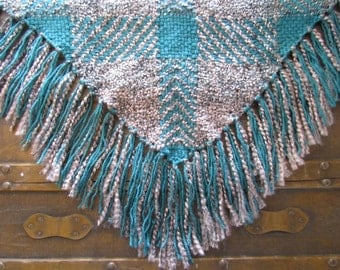 Hand-Woven Teal and Gray Triangle Shawl