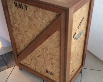 Occasional imitation industrial crate furniture
