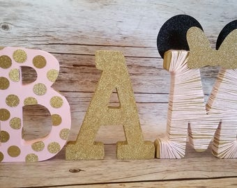 Minnie Mouse Inspired Birthday Free Standing Letters//Free Standing Nursery Initials//Pink and Gold Birthday//Photo Prop