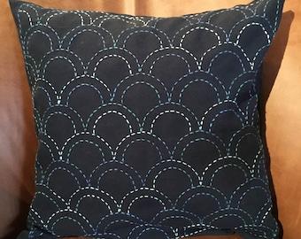 Sashiko Style Japanese Pillow