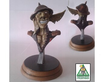 Goblin General-Black Mini Bust. High quality hand crafted resin sci-fi fantasy statuette. Hand painted.
