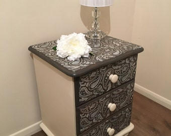 SOLD SOLD Rustic Bedside Table With 3 Drawers – Cream Paisley Stencil