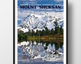 North Cascades National Park Poster, cascades national park, national park print, national park poster, travel poster, mount shuksan poster