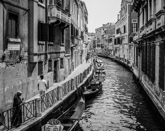 Venice Photography, Italy Photography, Venice Canals, Fine Art Print Italy, Venice Print, Italy Print, Black and white, Venice Print