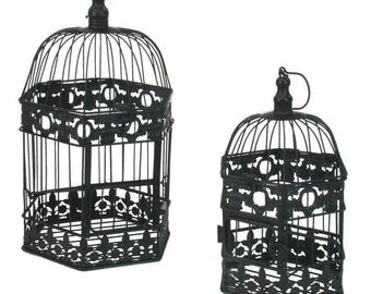 Set 2 cages birdcage hexagonal black