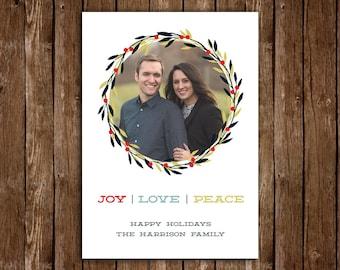 Joy Love Peace Christmas/Holiday Card - DIY Printable