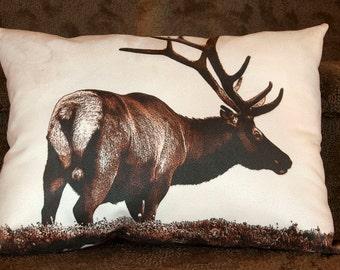 Elk pillow, wildlife pillow, wildlife decor, suede pillow, elk photograph