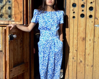 1980s Blue & White Leaf Short Sleeved Maxi Dress
