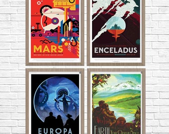 SPACE Posters, Group of 4, Mars Travel, Space Poster, NASA Space Travel Poster, Nasa Poster, NASA 2016