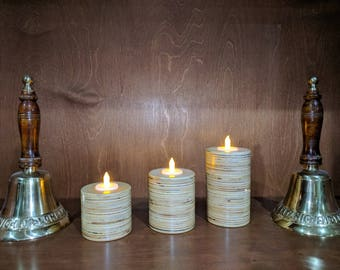 Plywood Candles/ set of 3/ handcrafted