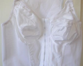 True vintage white Long line Full back front close 36C bra made by Glamorise