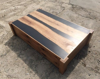 Resin coffee table with resin top and live edge oak inlay