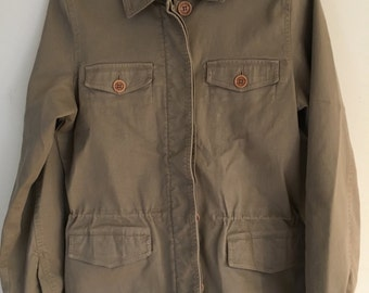 Vintage Eddie Bauer Kaki Hiking Camping Safari Style Outdoor Jacket Button and Zip Up Adult Size Medium
