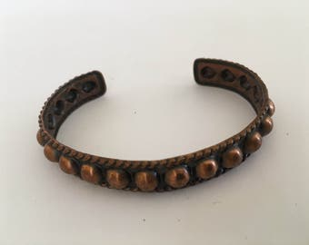 "Vintage Genuine Copper Women's Handmade Tooled Bracelet Sz 6..5"" Wrist"