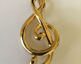 Vintage (Erwin Pearl), signed P.E.P. music gold tone staff brooch pin