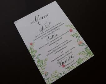 Printable Menu with Calligraphy, Weddings, Events, Love Birds
