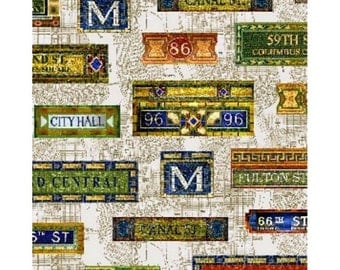 Novelty Cotton Fabric New York Subway Signs -